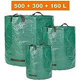 Saco de jardín–3, distintos tamaños en Juego 500ltr, 300ltr y 160ltr–Bolsas de basura de jardín hojas y saco extra resistente–plegable selbststehend–PREMIUM CALIDAD