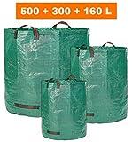 Glorytec 3X Gartensack 160L + 300L + 500L - 3 Premium Gartenabfallsack im Set - Stabile Gartensäcke aus Extrem Robustem Polypropylen-Gewebe (PP) 150gsm - Laubsack Selbstehend und Faltbar