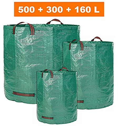 GloryTec Garden Bags 3-Pack 500 + 300 + 160 Liters | 3 Diferent Sizes Extra Strong Garden Waste Bags with Handles for easy Transport | Collapsible and Reusable Gardening