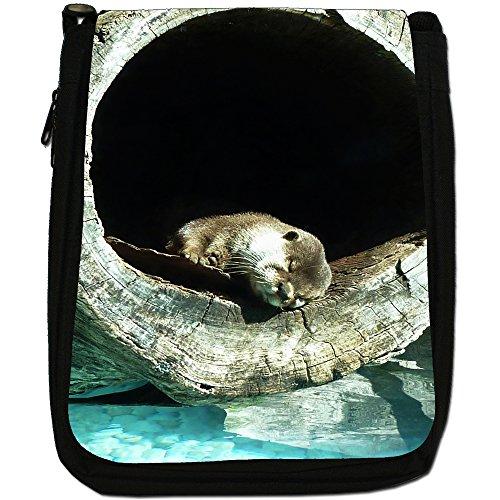Lontra Animal-Borsa a tracolla in tela, colore: nero, taglia: M Otter Sleeping In A Log