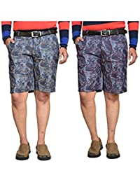 British Terminal Multi Colour Fancy Print Slim Fit Men's Cotton Shorts(Bermuda) Combo-pack Of 2 - B06X9K894R