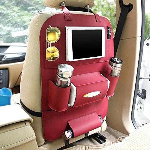 Preisvergleich Produktbild KOBWA Auto-Rückenlehnenschutz+ IPad/Tablet Fach, PU-Leder Organizer Rücksitztasche Kick-Matten-Schutz für Telefon / Tissue-Box / Umbrella / Kinder-Spielzeug / Flaschen (Wein)