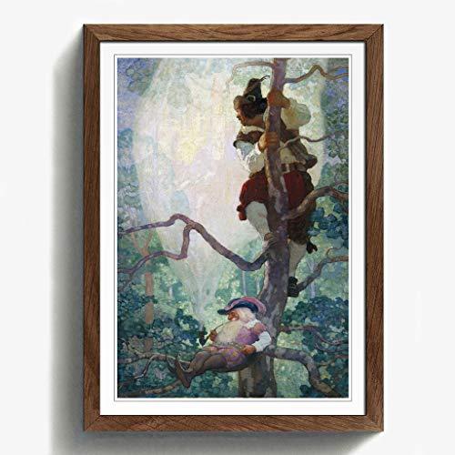 BIG Box Art N. C. Wyeth Fantasy Print mit schwarzem Rahmen, Mehrfarbig, Größe A2, 24,5x 18_ P, Holz, walnuss, 24.5 x 18-Inch/A2 - Fantasy Walnuss