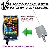 V2 Wally1 / Wally2 / Wally4 compatible receptor. 2-canales 433,92Mhz universal de radio módulo para V2 Phoenix, PHOX, Handy, TSC, TRC, TXC transmisore