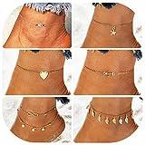 Suyi 6Pcs Catene di cavigliere di fascino perline regolabili per catene di gioielli da donna sexy da spiaggia 6 d'oro