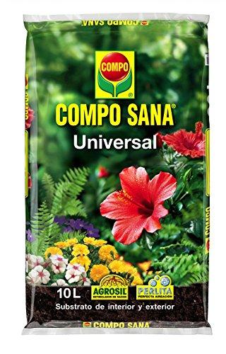 Compo 1113124011 Sana Universal 10 L [Tierra, Sustrato, Turba, Plantas - Calidad Garantizada - Ideal para Interior y Exterior - Contiene Agrosil y Perlita], 44x27x5.5 cm