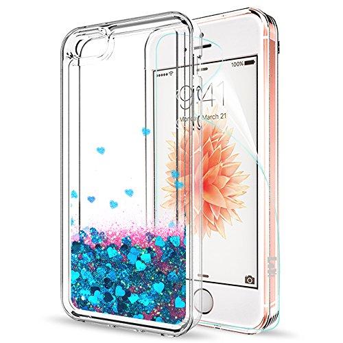 LeYi Hülle iPhone 5S / iPhone SE/iPhone 5 /SE 2 Glitzer Handyhülle mit Folie Schutzfolie,Cover Schutzhülle für Case iPhone 5S Handy Hüllen ZX Blau