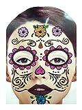 Gesichts Tattoo Face Art Halloween Karneval Dy Of Dead-Flowers