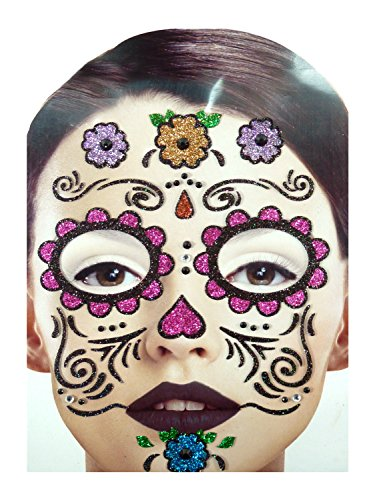 Gesichts Tattoo Face Art Halloween Karneval Dy Of Dead-Flowers