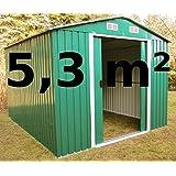 ASS Abri de jardin en métallique en zinc Vert 5,3 m²