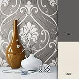 NEWROOM Barocktapete weiß Vliestapete grau schwarz klassisch,Modern schöne moderne und edle Design Optik , inklusive Tapezier Ratgeber