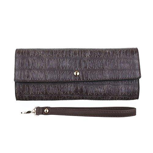 Damen Tasche, Clutch Tasche, Kleine Abendtasche, Kunstleder, TA-2060-43S Dunkelbraun