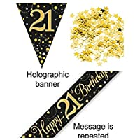 Everyoccasionpartysuppplies 21st Birthday Decoration Kit Banner Bunting Confetti Black And Gold Men Women Him Her