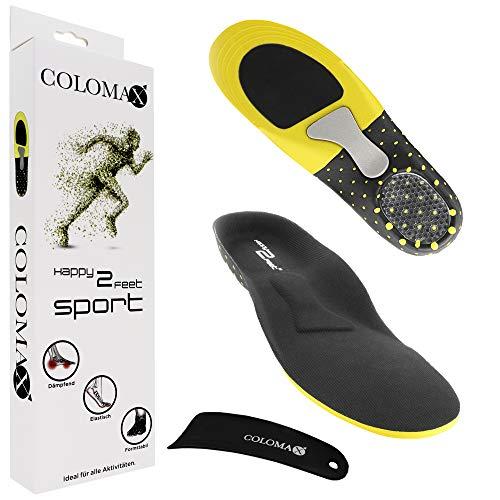 COLOMAX - SPORT - Einlegesohlen ideal für Sport und Alltag - Optimale Dämpfung - Maximaler Halt - Für Damen & Herren, Schwarz, 43 - 46 EU / L