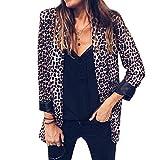 Shujin Damen Herbst Mode Langarm Jacke mit Leopard oder Schlange Muster Drucken Reverskragen Anzüge Slim Fit Kurzer Taillierter Blazer Business
