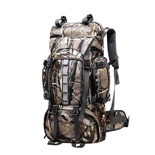JOTHIN 60L Wanderrucksack Groß Trekkingrucksack Herren Reiserucksack Camouflage Oxford-Tuch Tagesrucksack Outdoor Bergsteigen Backpack mit Regenschutz für Camping Klettern (Tarnen)