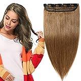 Extensions Echthaar Clips In 1 Stück 100% Remy Echthaar Haarverlängerung (45cm-50g #6 Hellbraun)