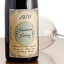 Regalo para cumpleaños: botella de vino vintage personalizada con nombre y apellido, año de