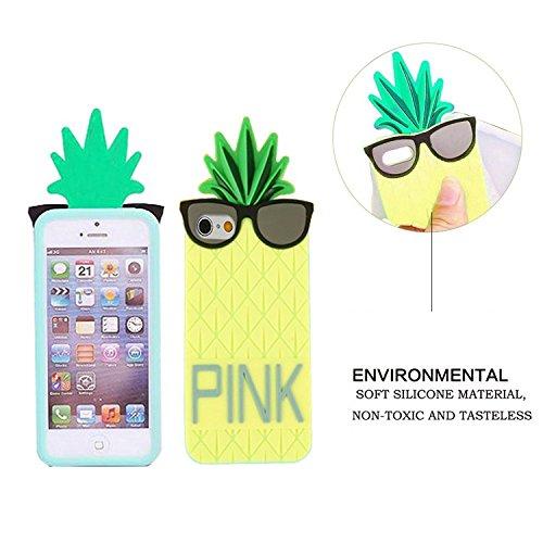 iPhone 6S Coque,MingKun Cool Lunettes d'ananas en Silicone Coque pour iPhone 6 6S 3D Conception Mignon de Bande Dessinée Etui pour iPhone 6 6S Type de sports d'été Housse Plage de Sable Frais et Frais ananas lunettes-3