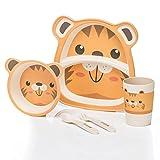 all Kids United Kindergeschirr-Set aus Bambus-Geschirr für Kinder Kindergeschirrset aus Bambus Set 5-teilig; Tiger