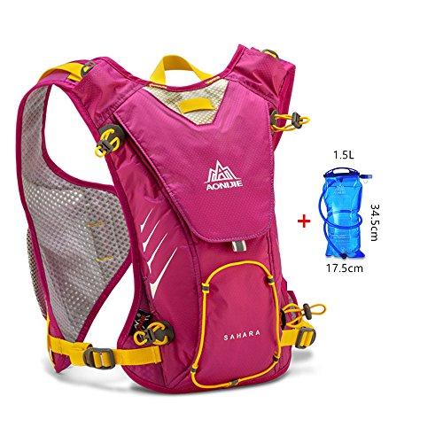 Imagen de aonijie 8l deportes al aire libre  ligera para correr ciclismo senderismo bolsa + 1,5l bolso de agua, hot pink