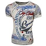 Rusty Neal Herren Rundhals T-Shirt Kurzarm Hemd Slim Fit Design Fashion 15045, Farbe:Hellblau;Größe:2XL