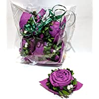 Servietten Rose in lila mit Buxbaumkranz und weißen Perlen, 6 er Set, zur Hochzeit, Geburtstag, Muttertag, Taufe, Kommunion, Konfirmation, Firmenjubiläum und zu vielen Anlässen
