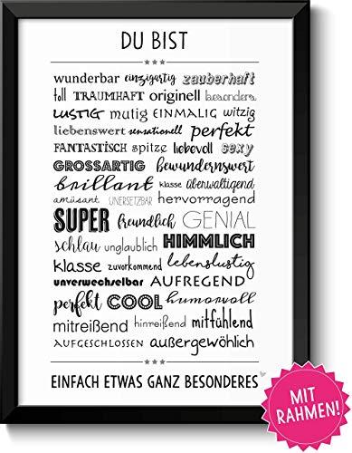 DU BIST WUNDERBAR - Bild für Paare Geschwister Eltern Beste Freunde - mit Rahmen - Geschenkidee Weihnachten Geburtstag Jahrestag Hochzeitstag