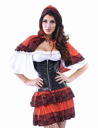 3- teiliges Sexy Wolf Köder Little Red Riding Hood Halloween Kostüm (Little Red Hood Riding Sexy Kostüme)