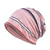 YWLINK Damen Wrap Indien Muslim Stretch Turban Streifen Drucken Hut Kopftuch