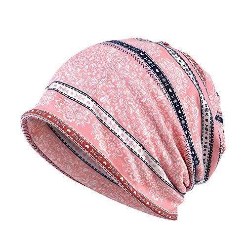 BHYDRY Damen Wrap Indien Muslim Stretch Turban Streifen Drucken Hut Kopftuch