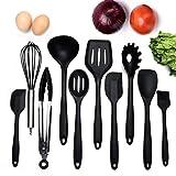Ensemble de 10 ustensiles de cuisine non toxiques en silicone non toxique Ustensiles de cuisine de la série Les outils de cuisson à la maison incluent Tong, fouet, brosse, cuillère à fentes, fourchette à pâtes, spatule fendue (NOIR)