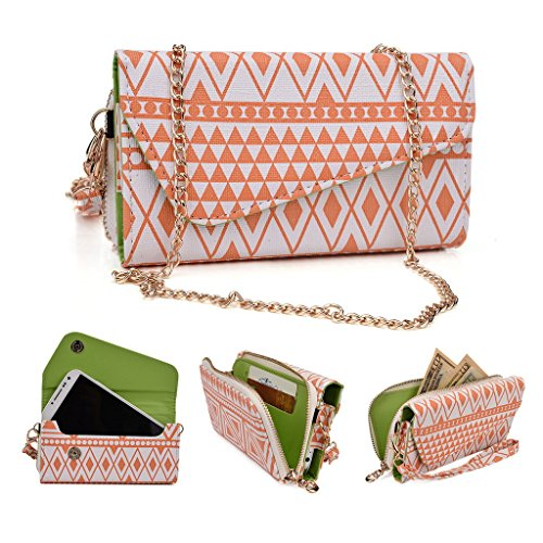 Kroo Tribal Urban Style Phone Case Walllet Clutch fits LG Spirit multicolore Black and White White and Orange