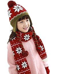 Bigood Bonnet Echarpe Bébé Enfant Cache Oreilles Chapeau d'Hiver Pompon Anniversaire Noël