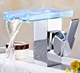 Mangeoo Chrom Square Temperaturregelung Leuchtendes Glas, heiße und kalte Waschbecken Armatur, Wasserhahn, Wasserfall Wasser