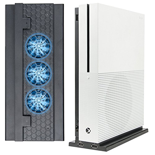Xbox One S Kühler Lüfter, LeSB Vertikaler Ständer mit 3 High Speed Fans & Anschlüssen USB Aufladen und Daten synchronisieren für Xbox One S Konsole - Schwarz