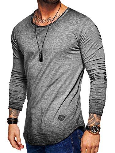 Behype Herren Oversize Basic Longsleeve O-Neck T-Shirt 30-3751 Grau L