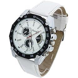 Facilla® Mens Watch Strap Watch Quartz Watches Men's Quartz PU + 3Chess White