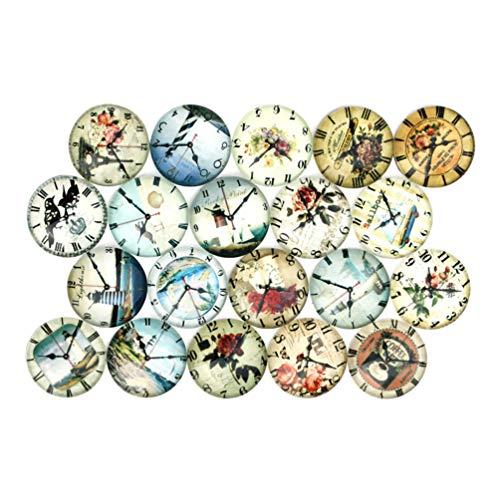 SUPVOX 20 Stück 25mm mischfarben Mosaik bedrucktes Glas Uhr Muster halbrund/Kuppel Cabochons für die Schmuckherstellung