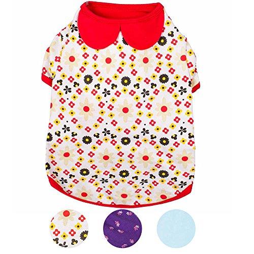 Blueberry Pet 30cm Rückenlänge Hundebekleidung Polo T-Shirt Kleid Gartenblume mit Peter Pan-Ausschnitt Baumwolle Hundeshirt, M