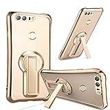 Coque Huawei Honor 8 Case Housse [Crystal Bumper][Transparent étui] [Housse de Protection] [Kickstand] [Anti Scratch Case] [Anti Chocs] Couleur de Galvanisation Pour Huawei Honor 8 (Honor 8, Or)