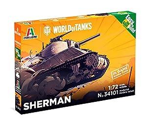Italeri 34101 34101-1:72 Sherman WOT Fast Assembly - Maqueta de construcción de maquetas, construcción de Modelos, Manualidades, aficiones, Pegamento, Kit de Montaje de plástico, sin Pintar
