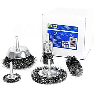 S&R Drahtbürste Set 5-teilig für Bohrmaschine, gewellter Stahldraht - Rundschaft 6mm - Abtragen und Polieren; Stahlbürste im Set : Scheibenbürste, Topfbürste, Pinselbürste und Zylinderbürste