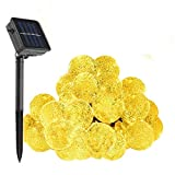 Solar String Lights, KEEDA Waterproof 20 Foot 30 LED Crystal Ball Lights, Solar Globe Ball Fairy Lights, Solar Lights for Garden Outdoor Party Decorations (Warm White)