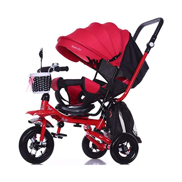 GSDZSY - 4 IN 1 Luxury Children Tricycle, Adjustable Seat, Baby Can Sit Or Lie Flat, Foldable Frame With Shock Absorber, 1-6 Years Old GSDZSY ❀ Material: High carbon steel + ABS + rubber wheel, suitable for children from 1 to 6 years old, maximum load 30 kg ❀ Features: The frame can be folded, the seat can be rotated 360; the backrest can be adjusted, the baby can sit or lie flat, the push rod and the parasol can be adjusted, suitable for different weather conditions ❀ Performance: high carbon steel frame, strong and strong bearing capacity; rubber wheel suitable for all kinds of road conditions, good shock absorption, seat with breathable fabric, baby ride more comfortable 1