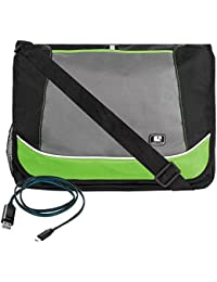 Green SumacLife Canvas Fashion Briefcase Messenger Shoulder Bag For Dell XPS 15 Series 15.6 Inch 9550 + Micro...