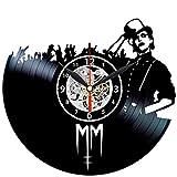 EVEVO Marilyn Manson Horloge Murale en Vinyle avec Plaque Vinyle, Grande Horloge Style rétro pour la Maison, la décoration de Votre Maison, Une Superbe Horloge Murale de Style rétro