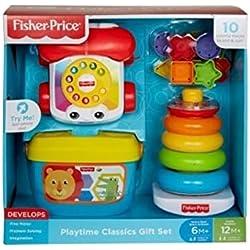 Fisher Price Classics Gift Set juego de bloques, teléfono y apilador