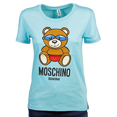 T-shirt girocollo donna moschino swim teddy bear swimmer col. azzurro ae18mo17