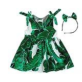 Amlaiworld Robe de Filles Été Filles Robe Imprimée Feuilles Robe de Soirée à Bretelles Robe de Plage + Bandeau pour 1-7 Ans Fille (90/18-24Mois, Vert)